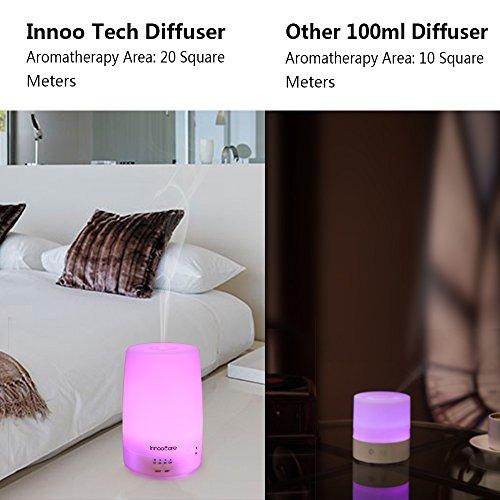Scheda dettagliata Diffusore di Aromi 150ml InnooCare Diffusore di Oli Essenziali Vaporizzatore - Umidificatore LED a 7 Colori con Timer Nebbia Fredda per Yoga, Spa, ecc. (150ml diffusore)
