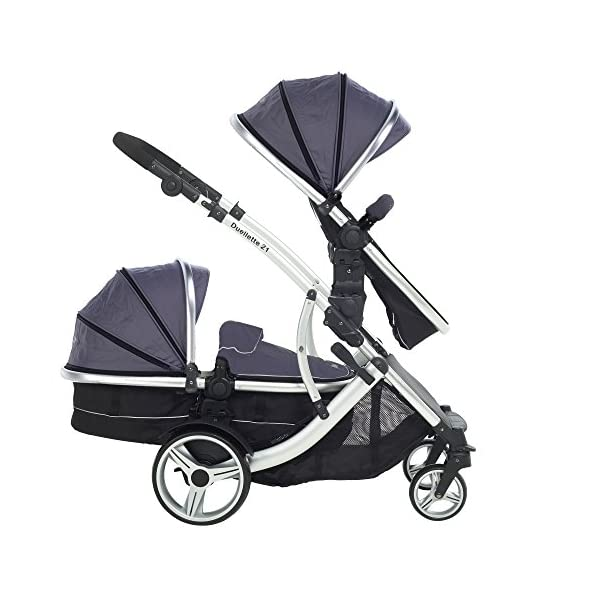 Kids Kargo Duellette Combi Suitable from Newborn. Carrycot Converts to Seat Unit. Dooglebug Silver Kids Kargo Demo video please see link https://www.youtube.com/watch?v=X_tEcnQ8O8E%20 Suitability Newborn - 15kg (approx 3 yrs). Carrycot converts to seat unit incl mattress Carrycot & car seats fit in top or bottom position. Compatible car seats; Kidz Kargo 0+, Britax Babysafe 0+ (no adapters needed) or Maxi Cosi adaptors 5