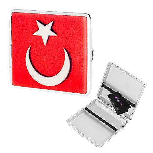 Taffstyle® Zigarettenetui Box für 20 Filterzigaretten 2 Fach Belegbar Länder Flaggen Style1 - Türkei