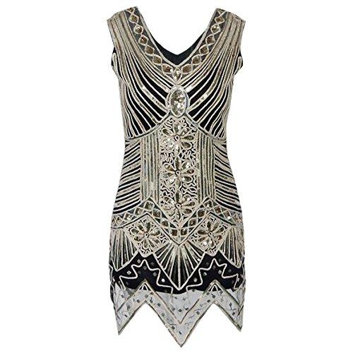 Lets Shopping Femmes 1920Gatsby paillettes art deco nommées robe de fête Flapper Medium or or