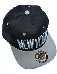 NEUES MODELL NEW YORK SNAPBACK Hip Hop CAP - viele coole Farben - Anbieter: OUTLET KING (CITY TRUCKER Mütze basecap) (schwarz-grau)