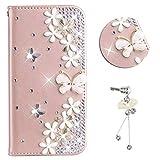 HongHuShop Coque pour Galaxy Grand Prime Or Rose Diamant Papillon Design Fait Main...