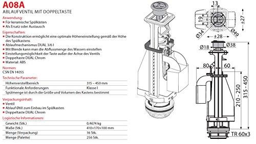 Spülgarnitur Keramik Spülkasten Ablaufventil mit Doppeltaste 3/6L Spülung Heberglocke für WC