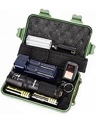 Internet G700 5000 Lumens Tactical LED CREE XM-L T6 Lampe de poche de police X800 Zoom Super Bright militaire de grade étanche titulaire Torche 5 Modes+batterie 18650(2pcs)+chargeur double+Pochette en nylon+porte-clé+Étui de protection