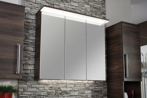 Fackelmann LED Spiegelschrank / Spiegelschrank zum Aufhängen / Badmöbel / Maße (BxHxT): ca. 80,5 x 70,5 x 24,5 cm / Farbe Braun / Breite 80,5 cm / Badspiegel / Spiegelschrank fürs Bad