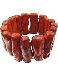 Pulsera de verdadero Coral ramas brazo joyas extensible Rojo de color marrón