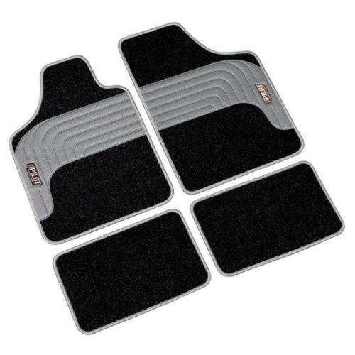 FUM127 - KUMO SPORT Velour Caoutchouc Tapis de sol de voitures 4 Piece Universal Tapis de sol auto Noir/Gris