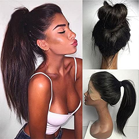 Maycaur Synthetic Lace Front Wig Silky Straight Heat Resistant Fiber Wig Natural Black Color With Baby Hair For Women(20