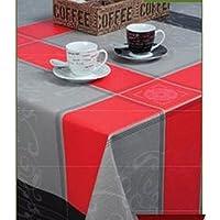 Rojo \ negro, diseño elegante, con relieve mantel de hule por wjdhome, se limpia con un paño, PVC, tamaño: 140cm x 200cm