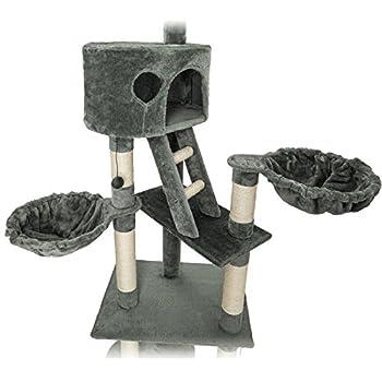 TecTake Arbre à chat XXL grattoir avec différents éléments - gris - hauteur : env. 240-260cm