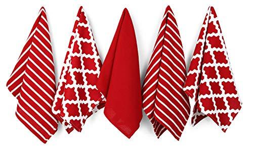 Penguin Home - Geschirrtuch aus 100% Baumwolle, 5er-Set - weich - strapazierfähig und extrem saugfähig - stilvolles Rot Design mit mehreren Mustern - maschinenwaschbar - 65 x 45 cm (Baumwoll-geschirrtücher Rot)