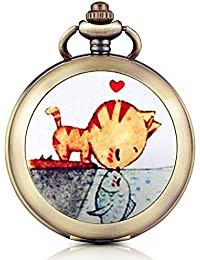 Infinite U Precioso Gato y Pez Amor Camafeo Colgante Mano Viento números romanos esfera blanca de fotos de esqueleto mecánico reloj de bolsillo Fob/largo cadena suéter collar