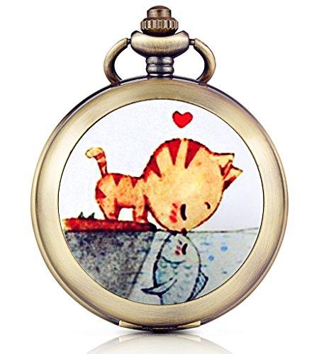 Unendlich U Kuss/Liebe von Katze und Fisch Foto Medaillon Handaufzug Mechanische Taschenuhr Schwarzes Zifferblatt Skelettuhr Pullover Halskette, beide (Ideen Mutter Kostüm Andere)