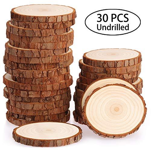 Fuyit Holzscheiben 30 Stücke Holz Log Scheiben 7-8cm (30 Pcs 7-8cm Wood Slices Without