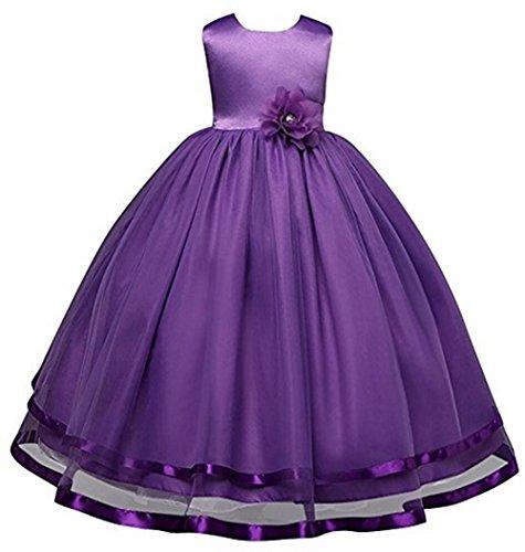 AGOGO Mädchen Kinder Kleider Festlich Brautjungfern Kleid Prinzessin Hochzeit Party Kleid Blumenmaedchenkleid Festzug Gr. 104 116 128 140 152 164 (116, Lila)