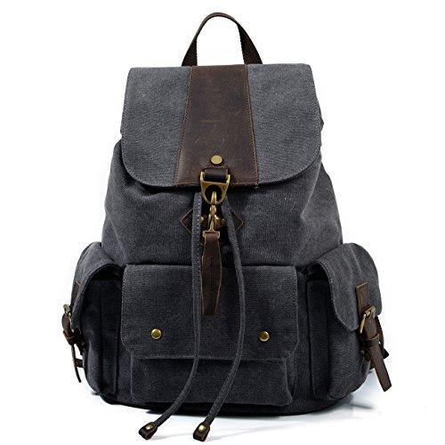 Mefly Canvas Tasche Schultertasche Herren Student Leisure Travel Bag Dark grey