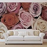 Rosen Blumen Rosa Lila Rot - Wallsticker Warehouse - Fototapete - Tapete - Fotomural - Mural Wandbild - (1628WM) - XXL - 368cm x 254cm - Papier (KEIN VLIES) - 4 Pieces