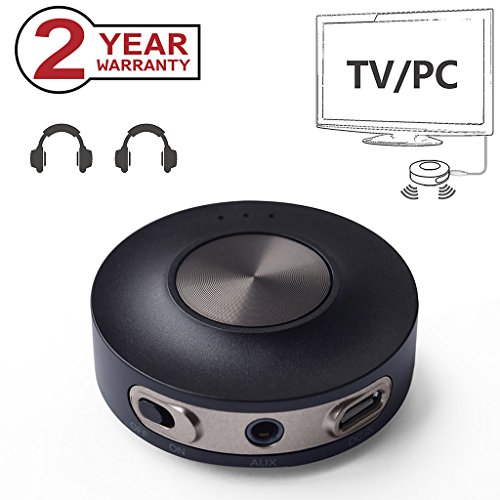 Avantree Bluetooth 4.2 Sender Transmitter für TV, PC, Dual Link aptX LOW LATENCY, RCA, 3.5mm, USB Wireless Audio (NICHT OPTISCH) Adapter für 2 Kopfhörer 30m ERHÖHTE REICHWEITE - Priva III [24 Monate Garantie] (Wireless Dual-kopfhörer)