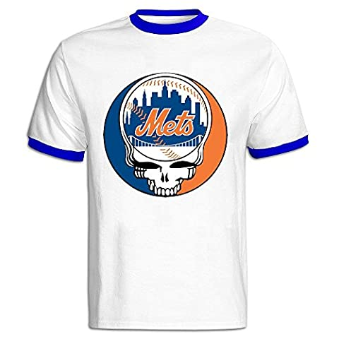 XYHJS TIKE Men's Grateful Mets Dead Logo Short Sleeve Ringer T-shirt