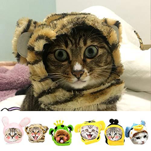 Kostüm Katze Kaninchen - LCWYP Haustier Halloween Lustiges Nettes Haustier-Katzen-Kostüm-Löwe-Tiger-Kaninchen-Frosch-Kappen-Hut Headwear Für Katzen-Hundehalloween-Weihnachtskleidung-Kleid