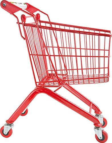 Small Foot 8002 Einkaufswagen Massiv aus Metall, stabiles, rotes Gestell, für Kaufmannsläden, ab 3 Jahren