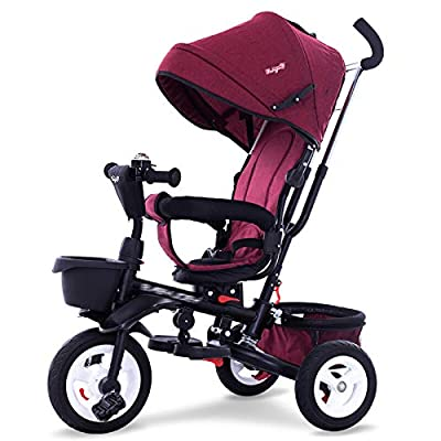 RUMIAO Baby Tricycle, Two-way Implementation Baby Pushchair, Adjustable, Built-in Guide, Environmentally Friendly Titanium Empty Wheel, 10 Months - 6 Years Old,Red