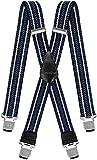 Decalen Hosenträger für Herren breit extra starken 4 cm mit 4er Clips X-Form Lange für Männer und Damen Hose (Blau Weiß Schwarz 2)