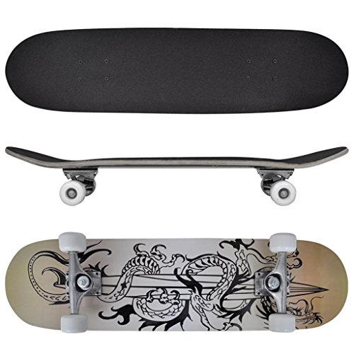 Ovales Skateboard 9 Ply Maple Dragon Design 8