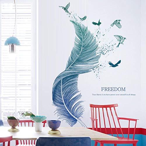 Pdrui Wandtattoo für Wohnzimmer, Feder Wandsticker als Wanddekoration für Schlafzimmer Kinderzimmer 124cm×72cm Wand Aufkleber | Deko Wandtattoo für Wand Fenster Möbel/Schrank Küche Bad Fenster Flur