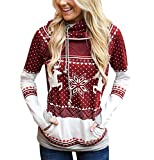 Christmas Hooded Sweatshirt Women Christmas Sweatshirts Printed Sweater Christmas Sweater Reindeer Sweaters Pullover Long Hoodies Girl Oversize Wide Long Winter Sport Personalized Red Wine M