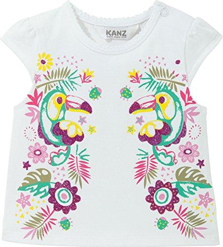 Kanz Baby - Mädchen Kurzarm Shirt T-Shirt mit Flügelärmel, mit Print, Gr. 62, Weiß (bright white|white 1000)