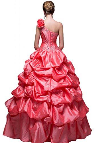 Sunvary Glamour Ein-Schulter Abendkleider Lang Satin Ballkleider Partykleider Rot