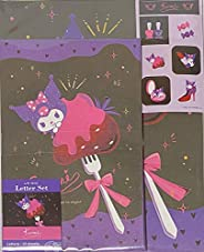 Sanrio Kuromi Letter Set 12 Writing Paper + 6 Envelopes + 7 Stickers Stationary Japan (Adult cute)