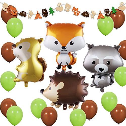 JOYMEMO Woodland Creatures - Waldtier-Partydekorationen Woodland Creatures-Ballons und Girlande für Baby Shower, Geburtstagsdekorationen
