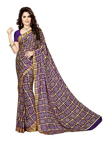 Rani Saahiba Crepe Georgette Gharchola Printed Bandhej Saree ( SKR3561_Violet )