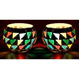 Earthen Metal Handcrafted Designer Glass Candle Light Holder- Set Of 2