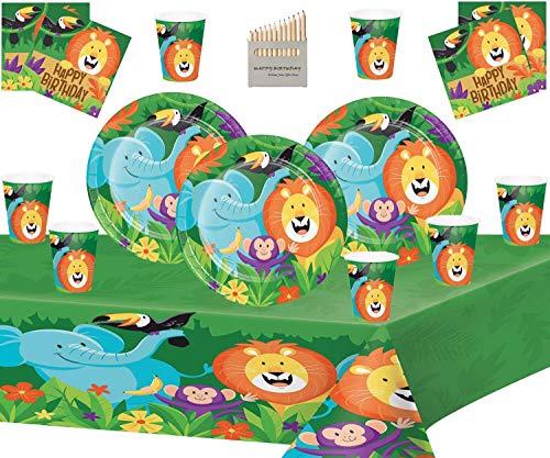 Dschungel Safari Party Supplies Forest Theme Geburtstag Kit dient 16 - Einweg Dschungel Tier Teller Tassen Servietten Tischdecke
