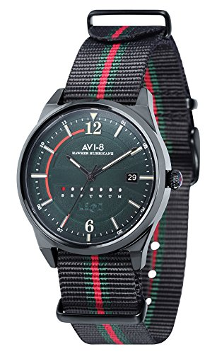 AVI-8 AV-4044-03 Mens Hawker Hurricane Watch - Black/Red