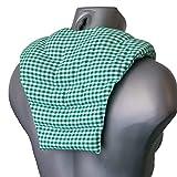 Nackenhörnchen mit Rückenteil | grün-weiß | Bio-Dinkelkissen | Nackenkissen | Rücken Wärmekissen