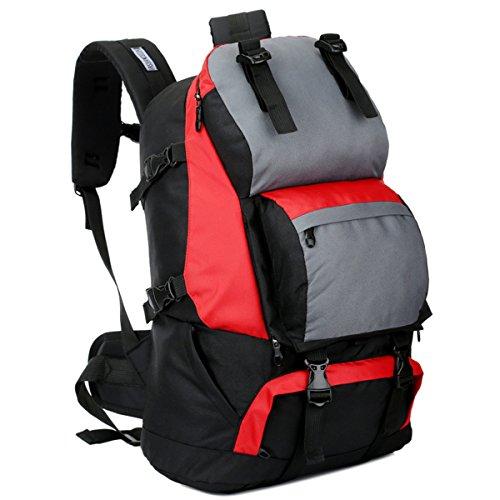 Alta capacità All'aperto multifunzione Sport Escursionismo arrampicata Viaggio Le spalle Campeggio Impermeabile Zaino (Rosa rossa) Blu scuro