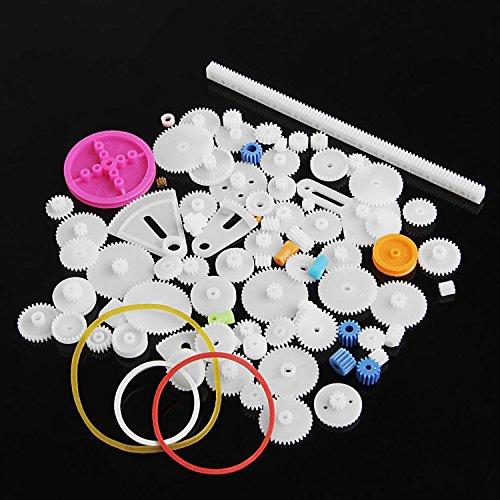 MuZuZi 85pcs Kunststoff-Zahnrad-Rack-Modell, das Einzel-Doppel-Zahnrad-Zahnriemen-Zahnriemen-Wurm-Zahnrad bildet