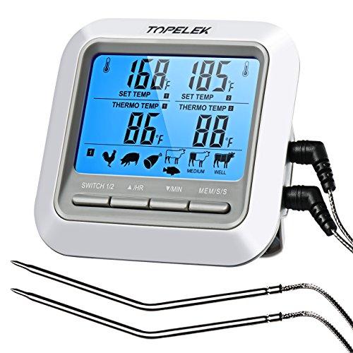 TopElek Termometro Sonda Professionale con Digitale Timer Cucina, 2 Sonde Incluse, Preimpostazione della Temperatura, Countdown Timer, Lettura Istantanea, Design di Montaggio Magnetico