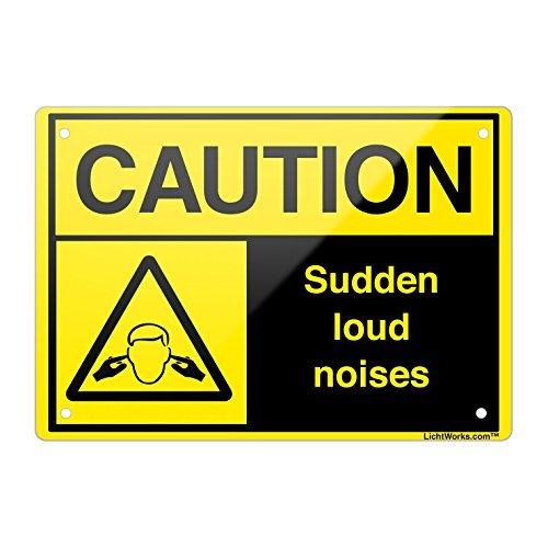 Aluminium Metall Schild Vorsicht plötzlichen Lärm 45,7x 30,5cm Zoll entworfen, hongdongdds (Zeichen Milwaukee)