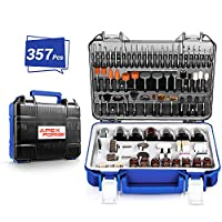 "Rotary Tool Accessories Kit, APEXFORGE 357 Pieces 1/8""(3.2mm) Diameter Shanks Universal Fitment for Easy Cutting, Grinding, Sanding, Sharpening, Carving and Polishing-PRTA"