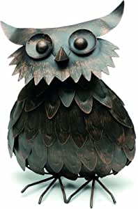 Creative Living 36 cm Standing Antique Bronze Owl Garden Ornament
