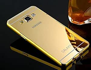 Lively Metal Bumper + Acrylic Mirror Back Cover Case For Samsung Galaxy A5 -Gold
