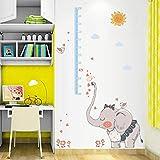 Pdrui Babyelefanten-Höhenaufkleber Wandaufkleber Wandtattoo,Wandsticker Abnehmbare Wohnzimmer Schlafzimmer Applique ,DIY Art Deco Wall Sticker 115×135cm