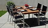 4 + 1 Garten-Garnitur / Terrassen-Möbel Set aus Edelstahl und hochwertigem Robinien-holz bestehend aus 4 Stapel-Sesseln