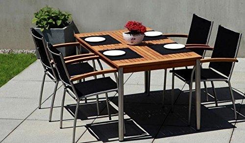 4 + 1 Garten-Garnitur / Terrassen-Möbel Set aus Edelstahl und hochwertigem Robinien-holz bestehend aus 4 Stapel-Sesseln 'Montreal' und einem Garten-Tisch 'Calgary' mit Robinien-Holz...