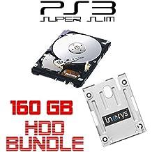 i.norys 160GB Festplatte für SONY PS3 Super Slim (12GB, CECH-400x) + Einbaurahmen + Handbuch/Manual + Positionsschrauben